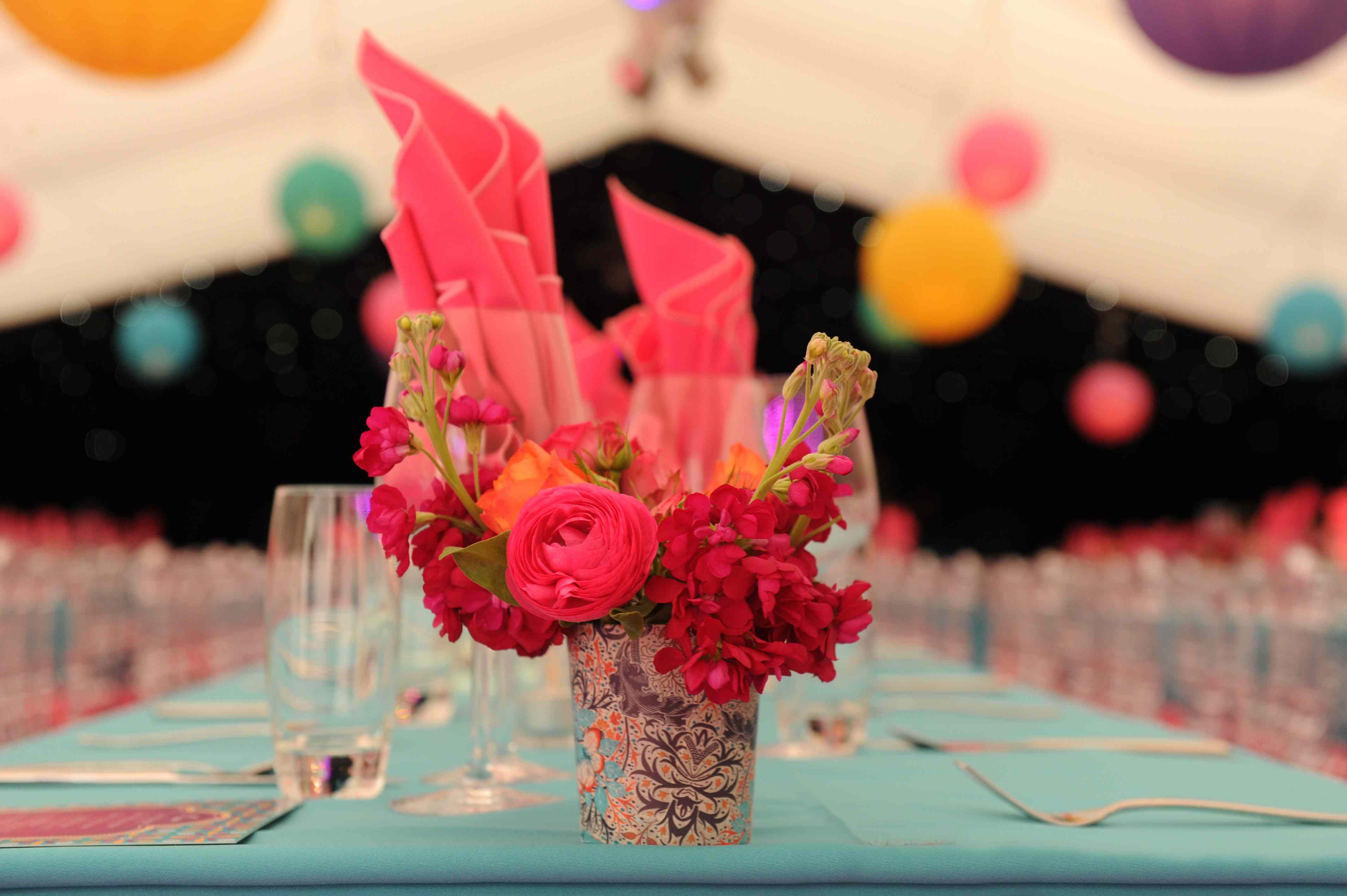 pink flowers at wedding table