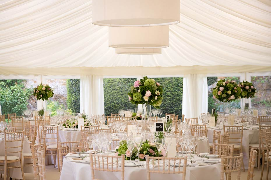 wedding decorations in a marquee