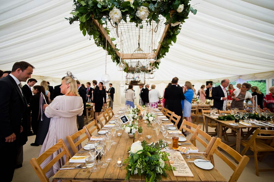 banquet style wedding dinner in a marquee