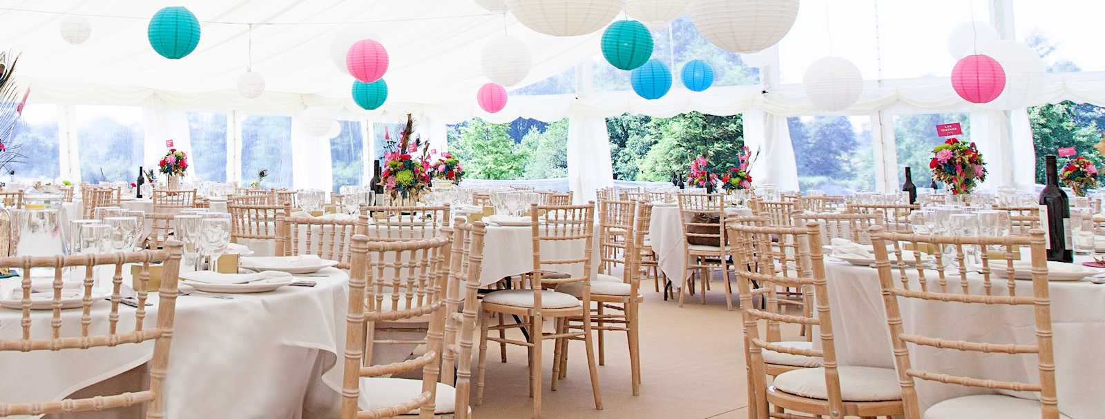 dining area in a wedding marquee
