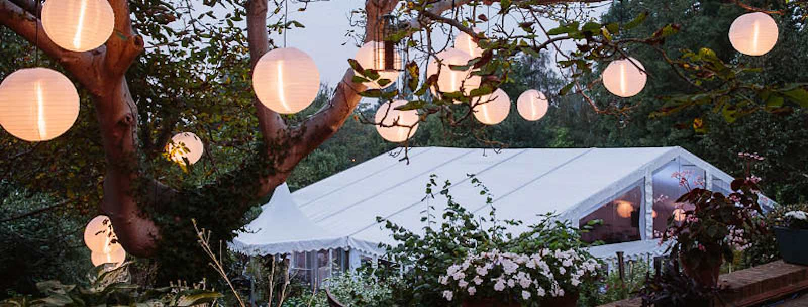 marquee roof and paper lanterns