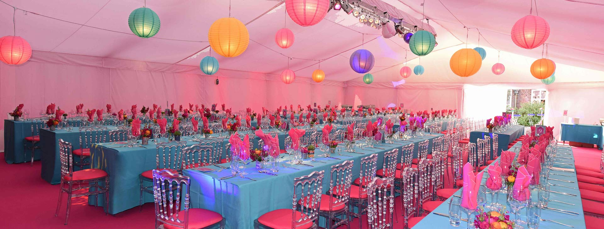 bubblegum themed party marquee