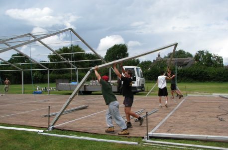 erecting a wedding marquee