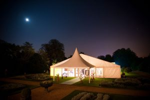 outdoor wedding marquee at night