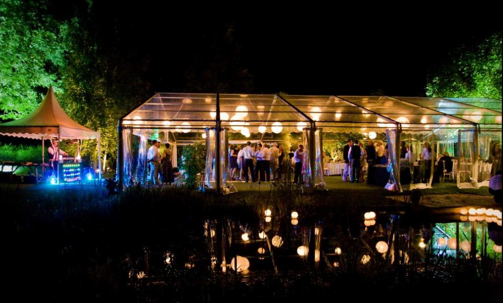 Paper lanterns on festoon and open air marquee