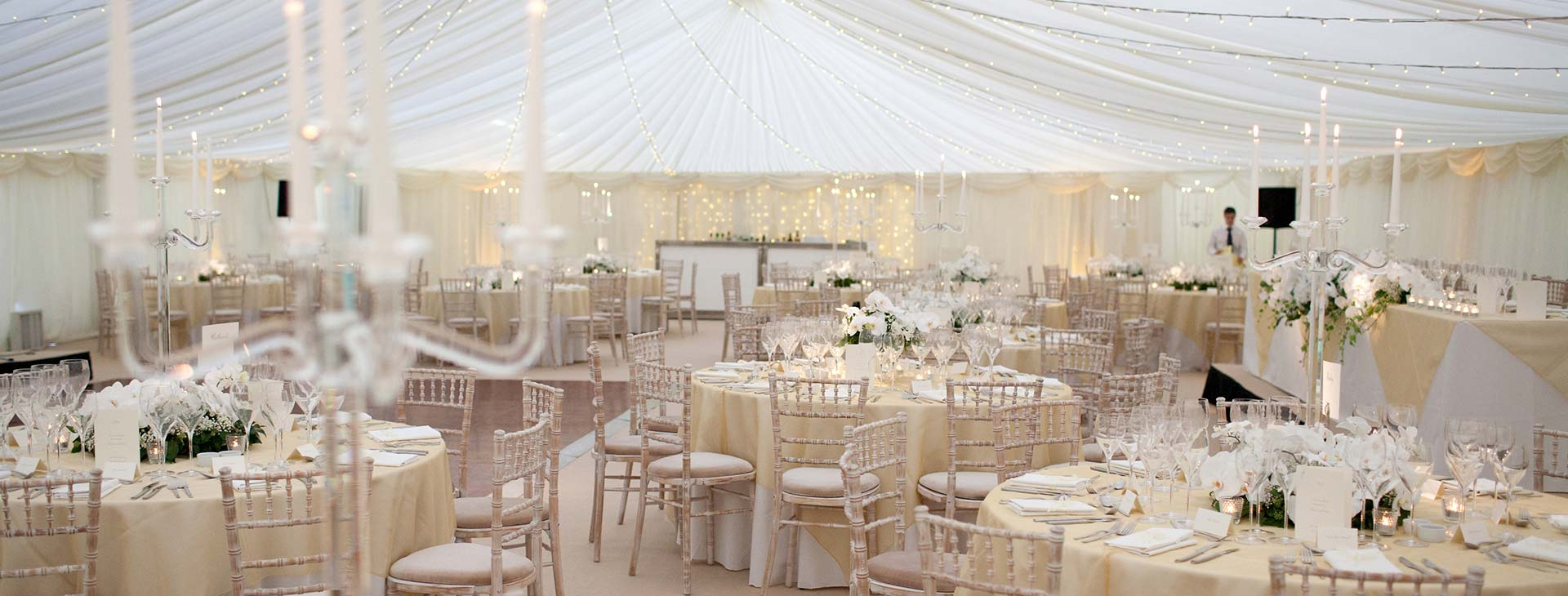 classic wedding set up in marquee