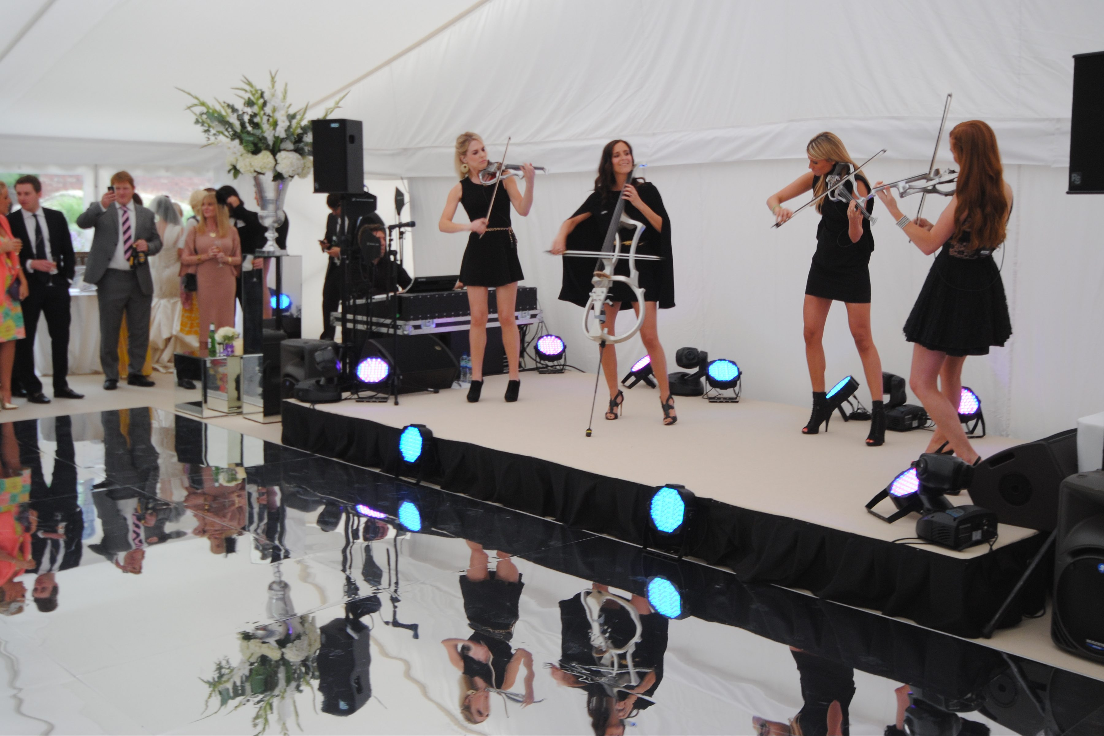 string quartet in a wedding marquee