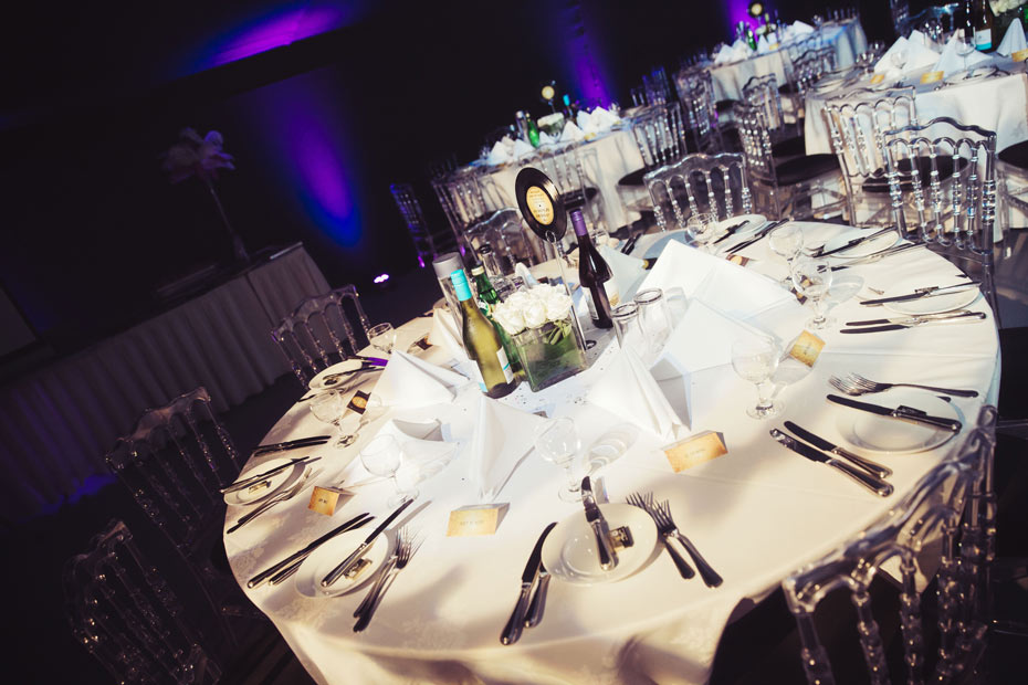 nightclub style wedding decorations in a marquee