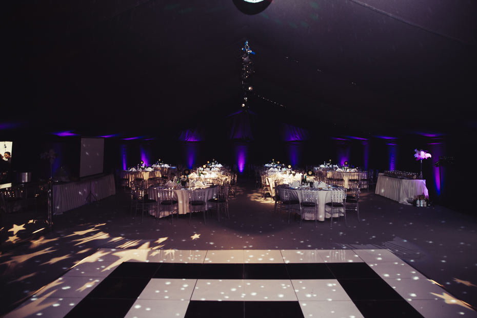 Nightclub Marquee with Black & White Dance Floor