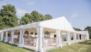 open air wedding marquee in summer