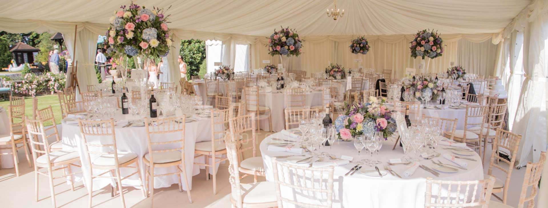 classic wedding setting in a marquee