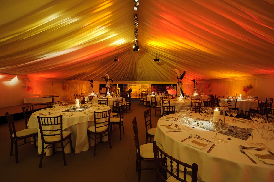 table decorations in african themed marquee