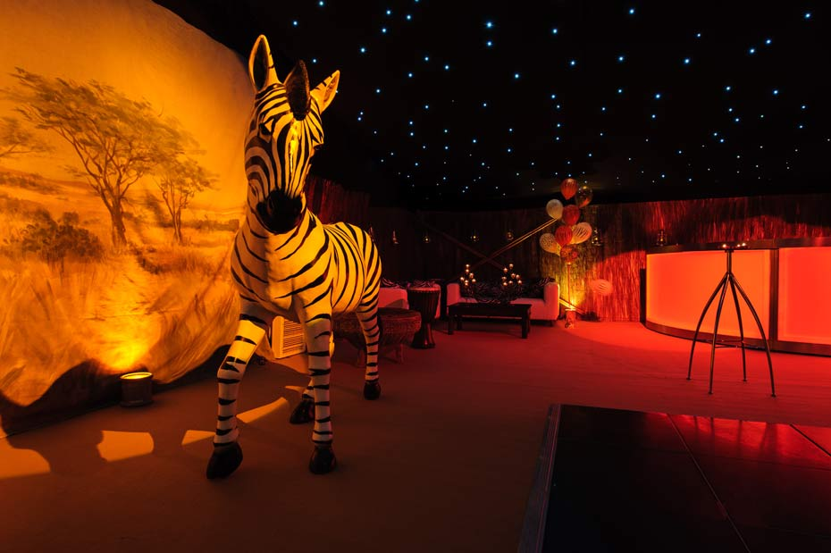 african savanna decorations in themed marquee