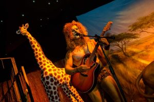 Lion guitarist in Africa themed party in marquee