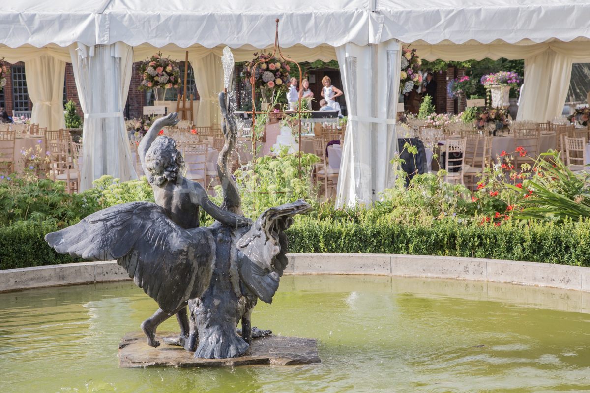 fountain and wedding marquee