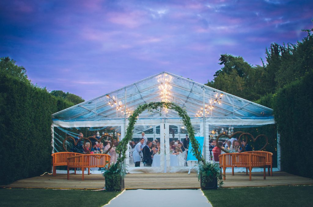 clear wedding marquee at night
