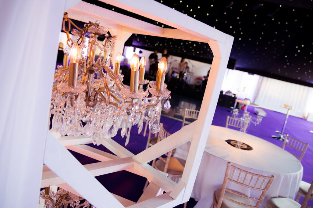 chandelier decorations in a nightclub marquee