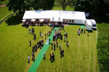 ariel view of a wedding marquee