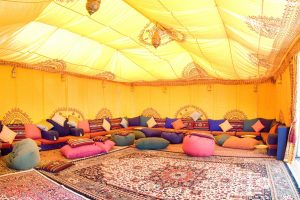 Chill out in a Moroccan themed marquee