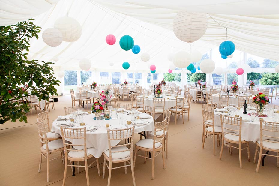 colourful themed wedding marquee