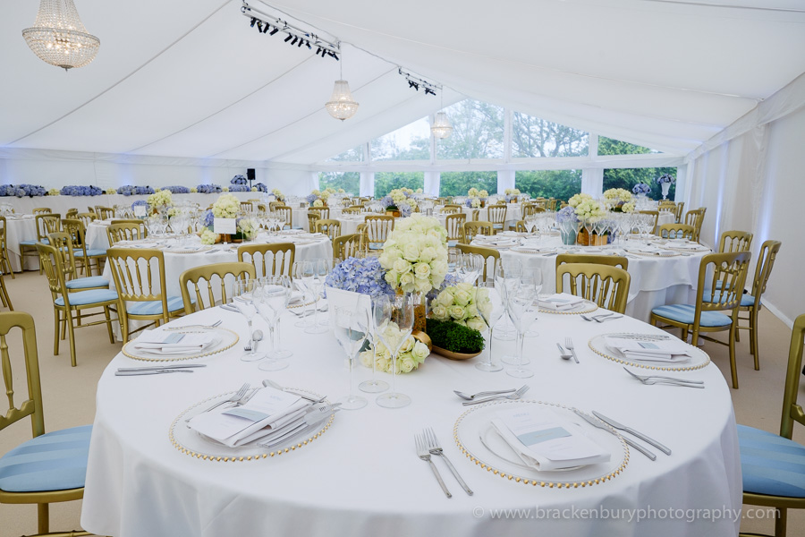 light colour combination in a wedding marquee