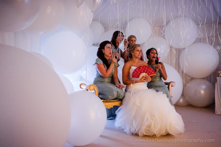 bridal party funny photo in a wedding marquee
