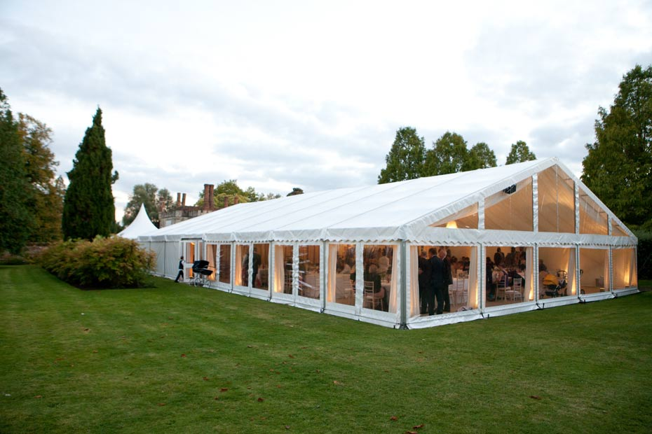 party marquee with floor to ceiling windows