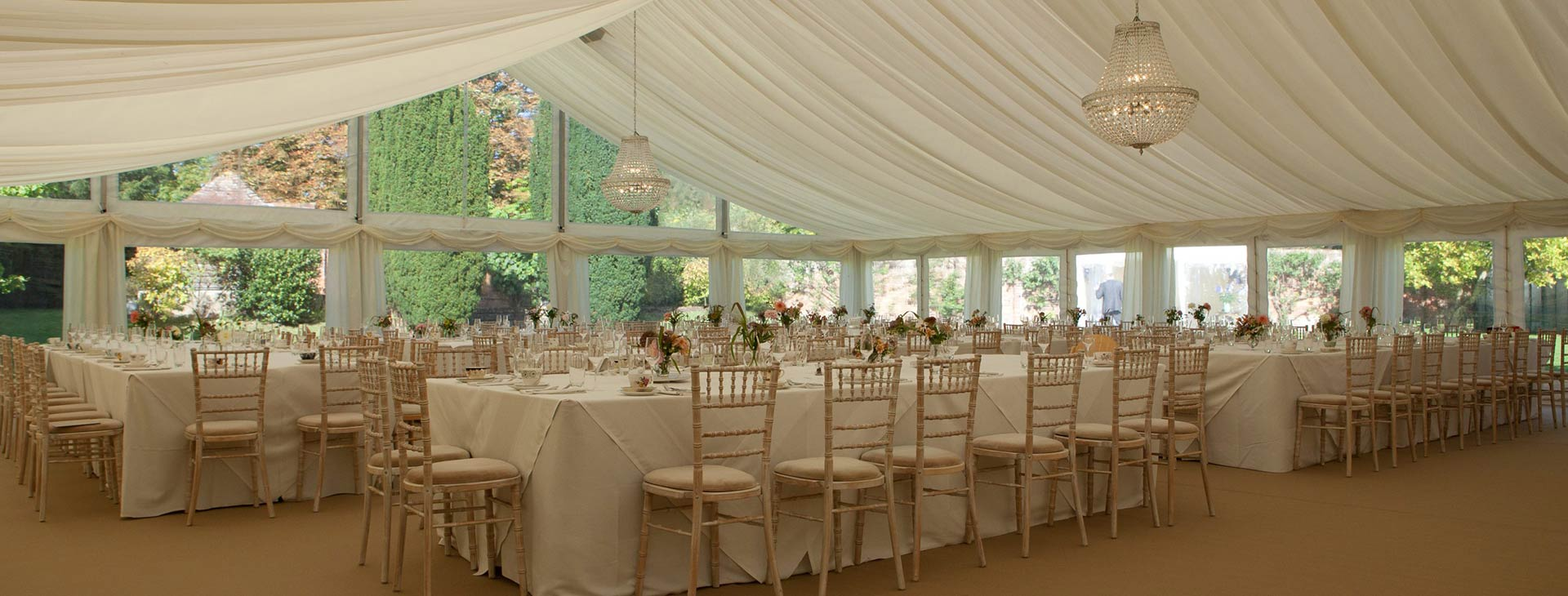 wedding table set up in summer marquee