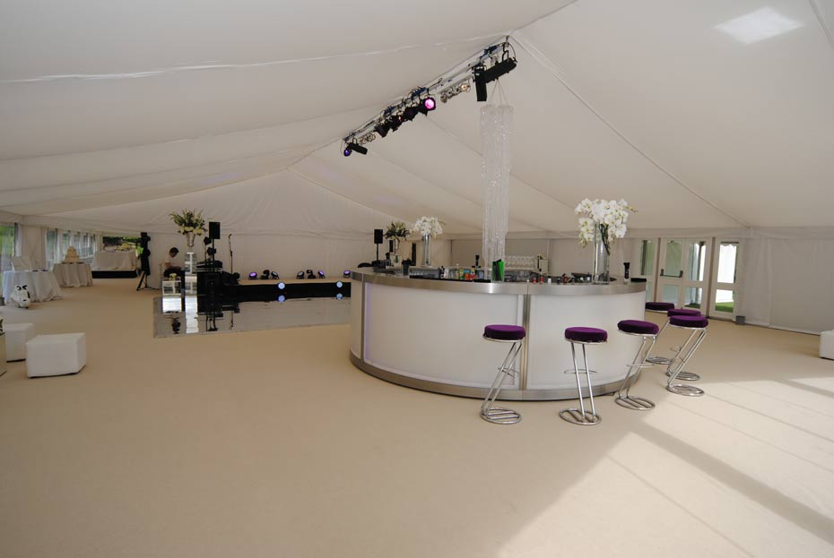 minimalistic bar in a themed marquee