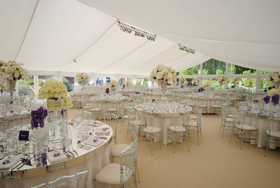 wedding decorations in a bespoke marquee