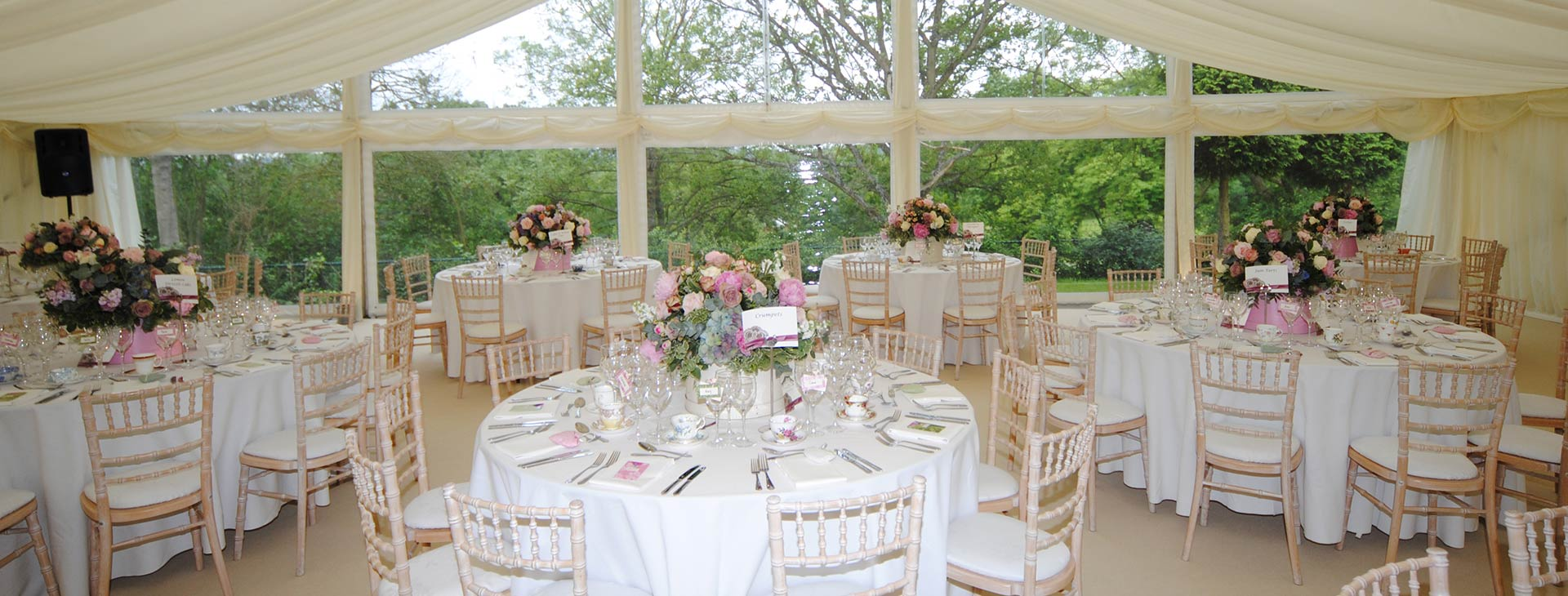 summer wedding in a marquee
