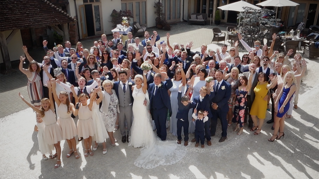 Drone image of a wedding party