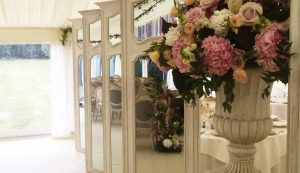 stylish room divider with mirrored panels