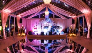 mirrored dance floor in glass marquee
