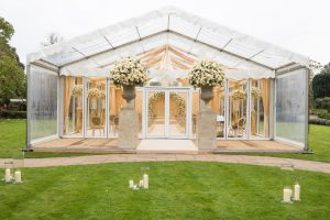 Glass wedding marquee