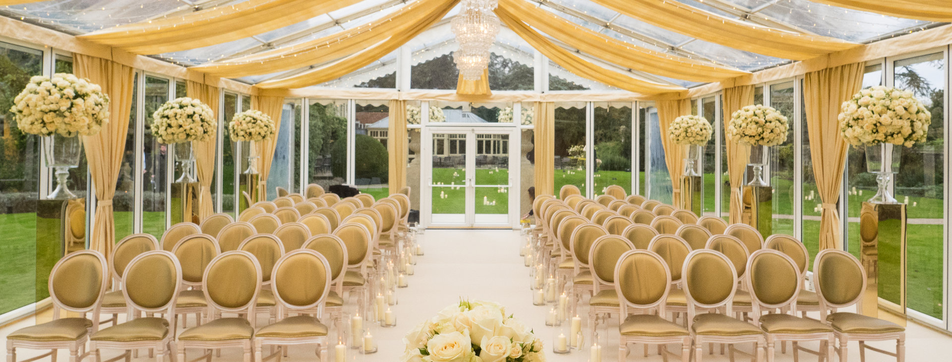 glass marquee for wedding at Le Manoir Aux Quat' Saisons