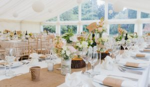 Ivory themed wedding marquee