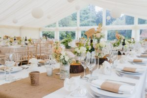 Ivory themed luxury wedding marquee