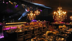 Elegant themed dining area in party marquee