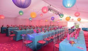Colourful interior for Mexican themed party marquee