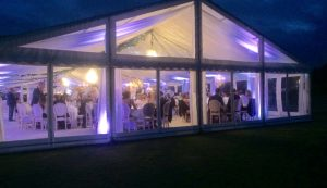 Wedding marquee with large glass frontage