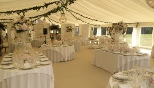 Ivory lined wedding marquee