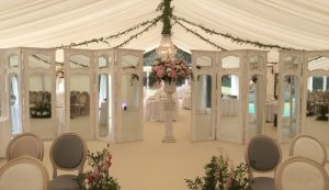 wedding marquee with stylish screen