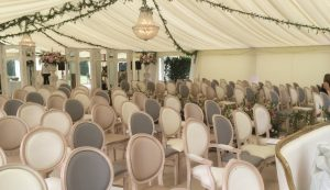 wedding ceremony area in marquee