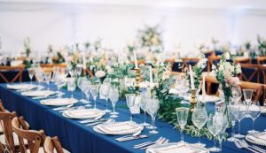 table layout for wedding held in marquee