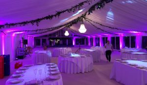 setting up wedding marquee