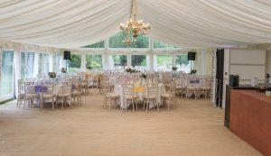 marquee set up for traditional wedding