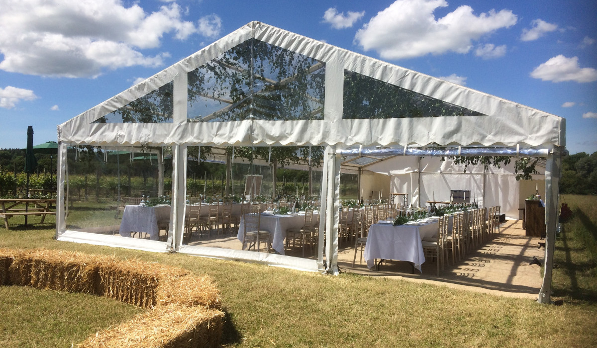 Conservatory style marquee for hire