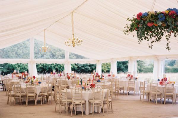 Matting, ivory lining, chandeliers, limewash chairs