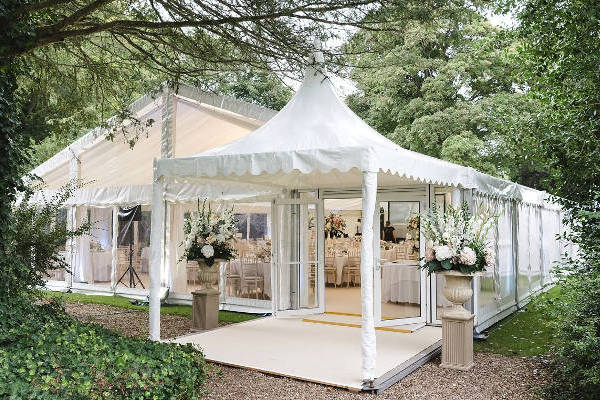 Entrance pavilion to wedding marquee to provide shade from sun and rain
